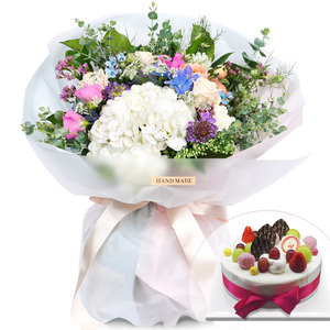 순수수국꽃다발(케익포함)